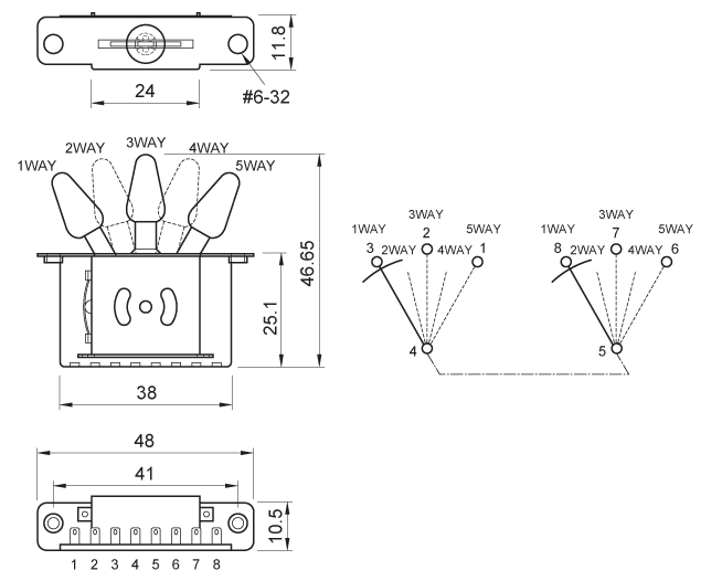 Switch - Pickup Selector, Strat, 5-Way, Black   CE Distribution on