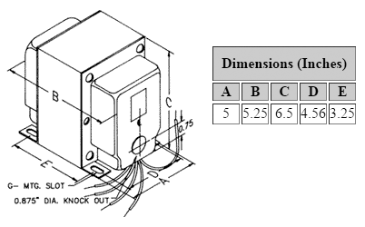 Dimensions for 1,020 V C.T. @ 500 mA