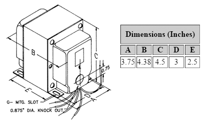 Dimensions for 1,250 V C.T. @ 200 mA