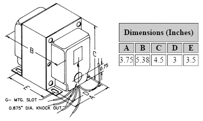 Dimensions for 1,250 V C.T. @ 300 mA