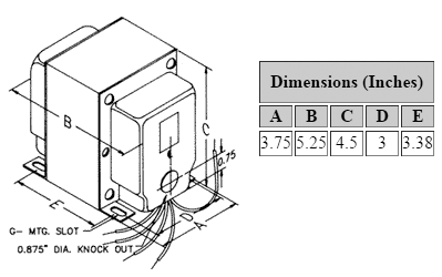 Dimensions for 1,500 V C.T. @ 226 mA