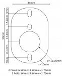 Dimensions for 8 pin to 9 pin (octal to noval) adapter