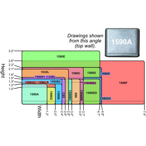 "Chassis Box - Hammond, 1590BB2, Diecast, 4.7"" x 3.7"" x 1.5"" image 4"