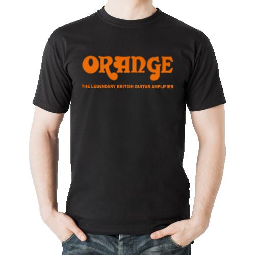 T-Shirt - Black with Retro Orange Amps Logo image 1