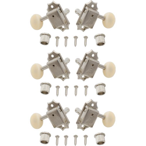 Tuner - Kluson, plastic, 3 per side, nickel / white image 1