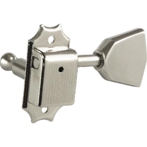 Tuner - Kluson, Nickel, Metal Keystone knob, 3 per side image 2