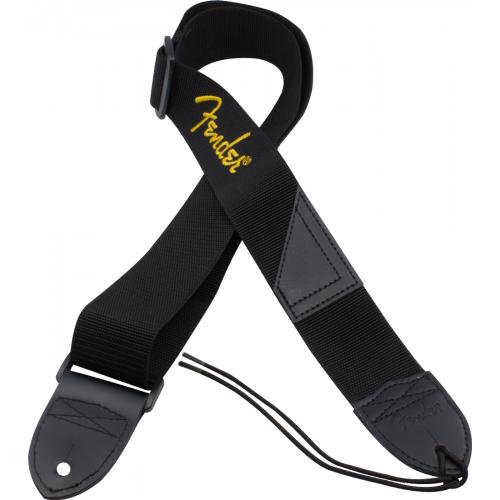 "Guitar Strap - Fender, 2"", Black, Yellow Logo image 1"
