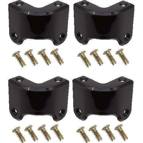 Corner - Marshall, Black Plastic, 4-Hole, Rear, with rivets image 1