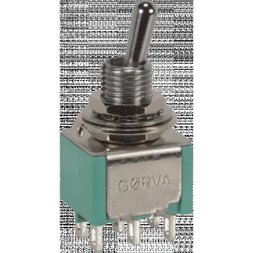 Switch - GØRVA, Mini Toggle, DPDT, 2 Position, Solder Lugs, Medium Bat image 1