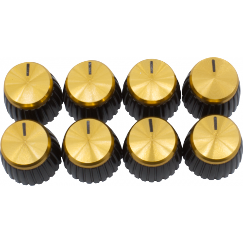 Knob - Marshall, Black, Gold Top, Push-On, D Shaft image 1