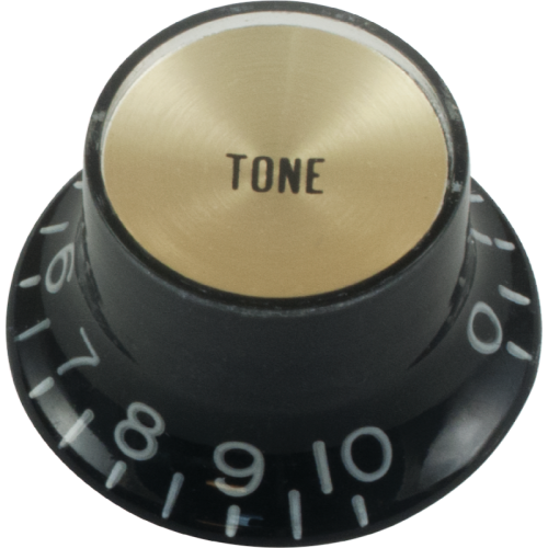 Knob - Top Hat, Black with Gold Cap, Gibson Style, Push-On image 1